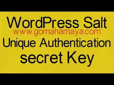 WordPress Salt And Unique Authentication secret Key