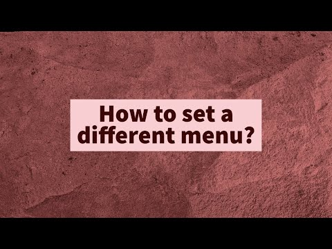 How to set a different menu?