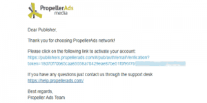 propellerads signup email account confirm