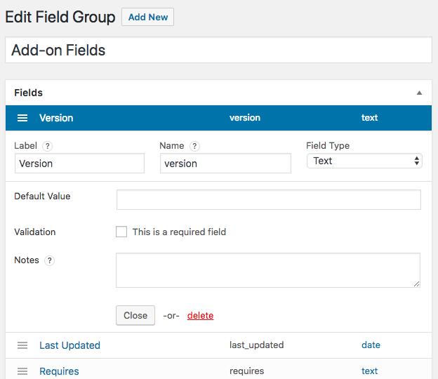Custom Field Suite setting dashboard