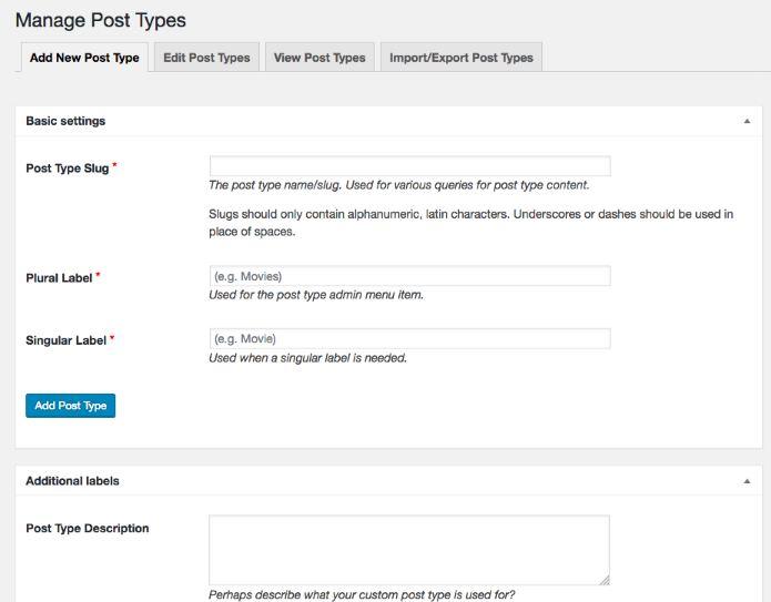 Custom Post Type UI plugin setting dashboard