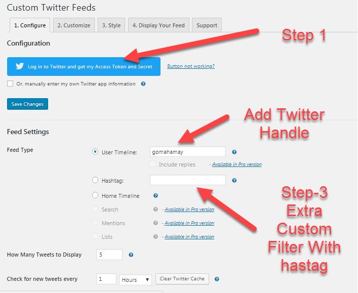 Custom Twitter Feeds Plugin setting