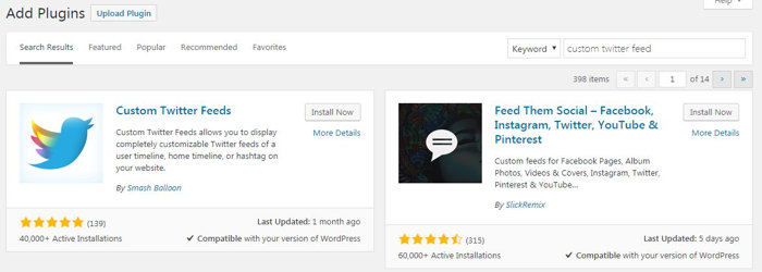 Custom Twitter Feeds WordPress Plugin