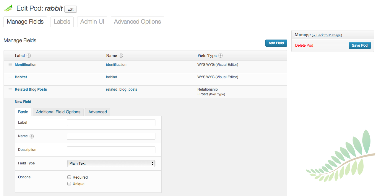 Pods – Custom Content Types and Fields Setting dashboard