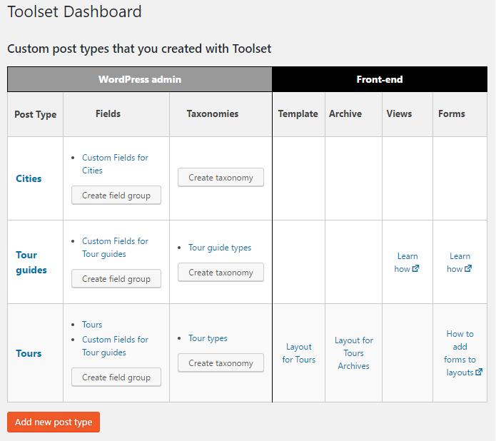 Toolset type plugin dashboard