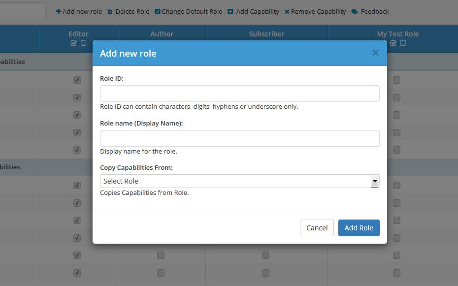 User Roles and Capabilities Screenshot