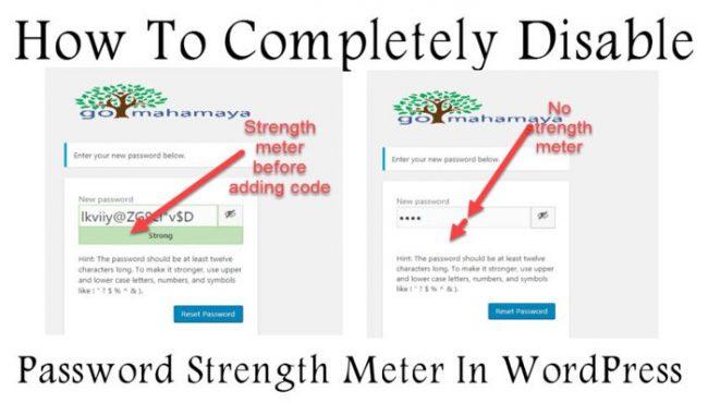 How To Disable Password Strength Meter In WordPress