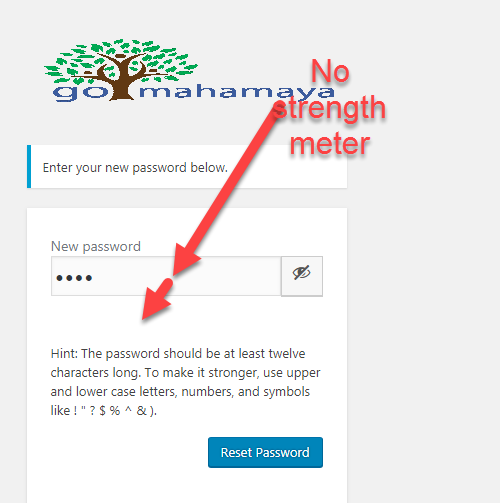 No password strenth meter on wp-login page