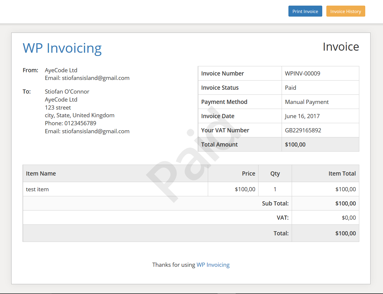 Invoicing_Invoice Plugin_Screenshot