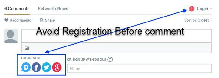 Avoid registration for making comment