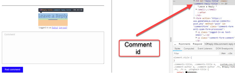 Comment id finding process to create anchor text link for comments