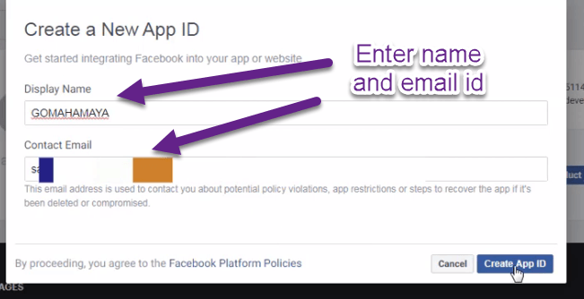 Enter name and email id then click on create app id