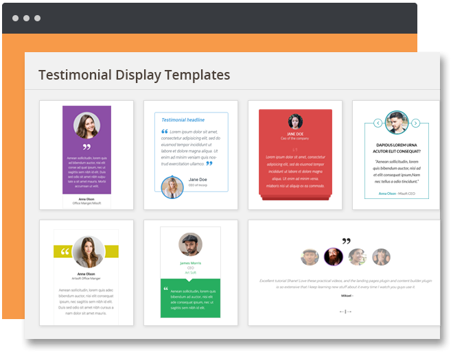 Testimonial display template