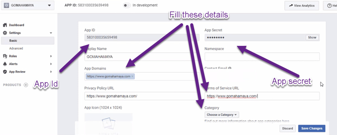 fill the important details of facebook app id setting