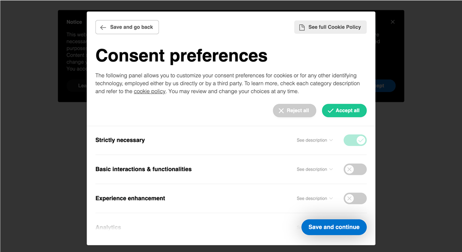 Iubenda Cookie and consent set consent preferences