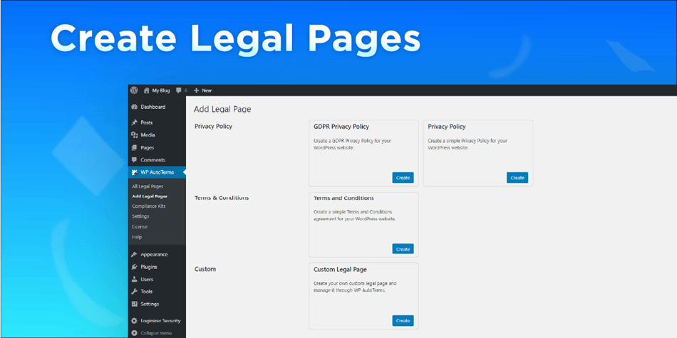 WP Auto Terms privacy policy generator create legal pages