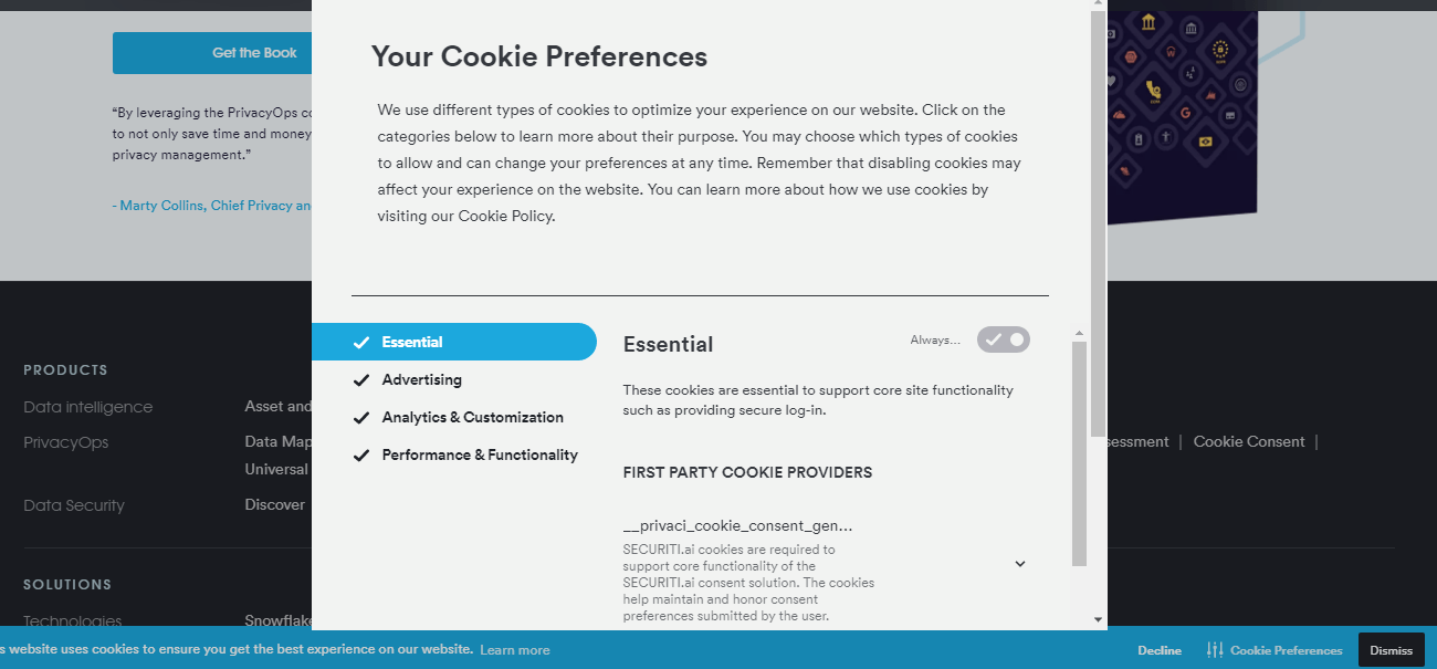 essential cookie preference