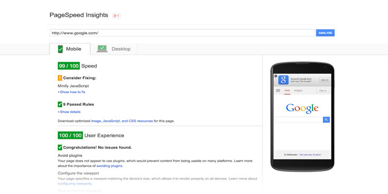 google page speed insight complete optimized