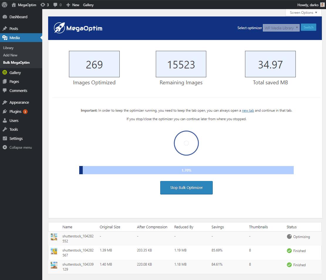 MegaOptim Media Library Optimizer Dashboard