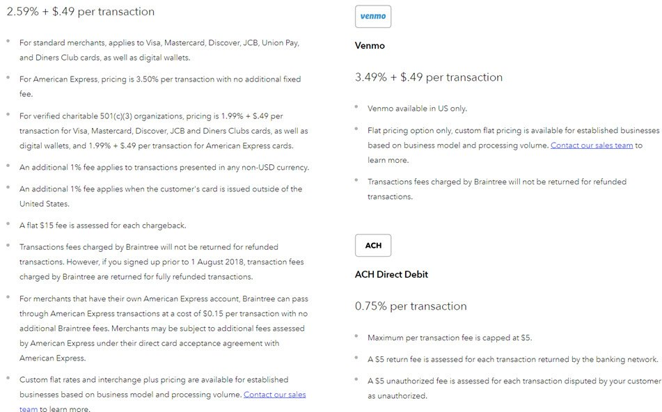 Braintree payments pricing