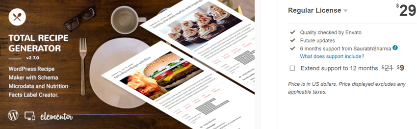 Total Recipe Generator - WordPress Recipe Maker with Schema and Nutrition Facts (Elementor addon)