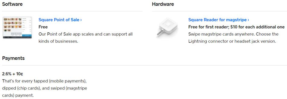 square Pricing For Software And Hardware Per Dip Tap Or Swipe