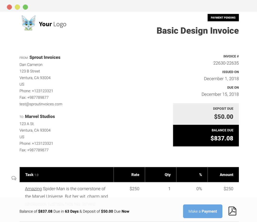 basic invoice design