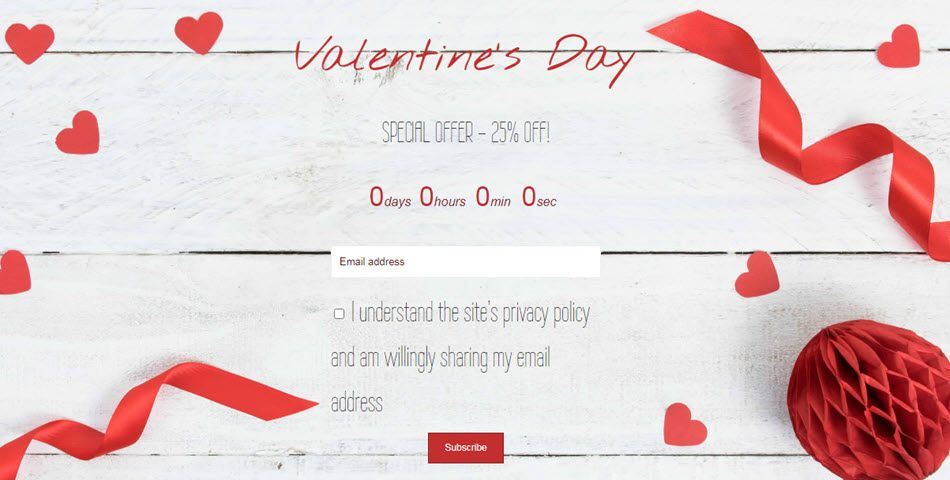 valetines day special offer launch with email subscription
