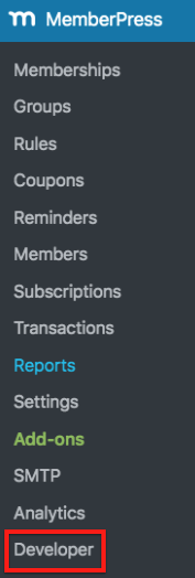 Developer option under the MemberPress Menu