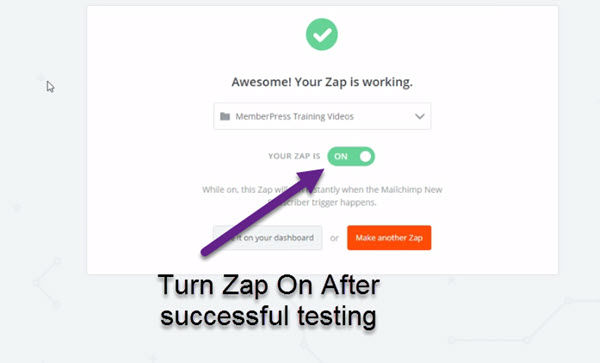 Turn on zap after successful testing
