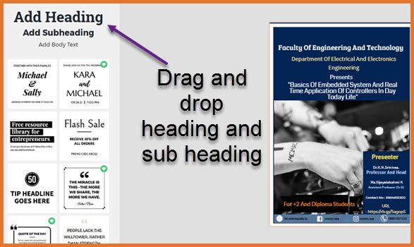 add heading and sub heading to your design by drag and drop