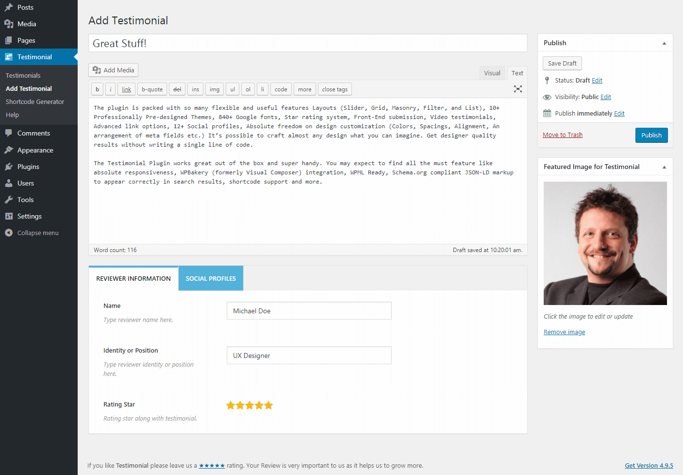 add testimonial in wordpress