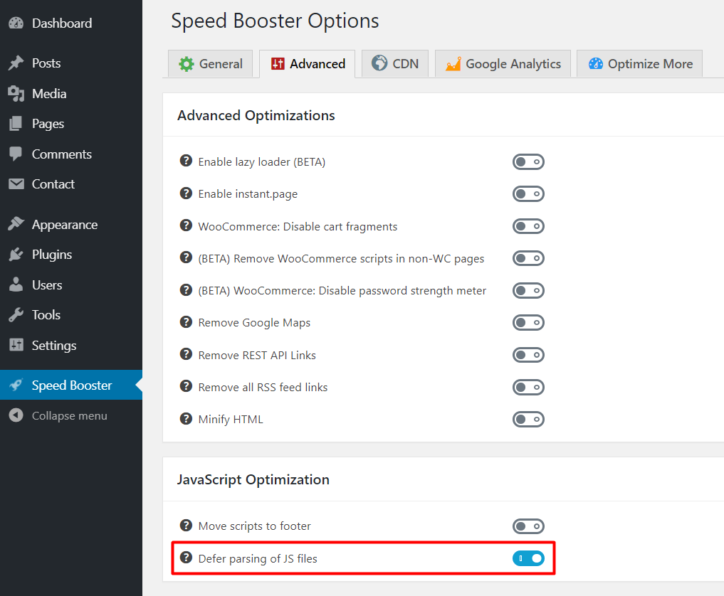 defer parsing of wordpres javascript using speed booster pack wordpress plugin