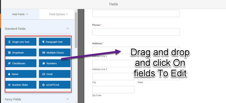 drag and drop fields in wpforms