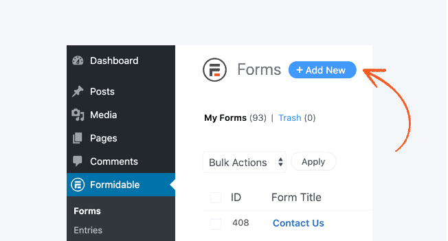 formidable forms create form add new button