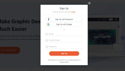 signup with facebook and google popup