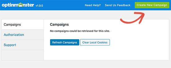 Create new campaign from optinmonster dashboard