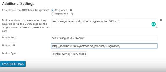 bogo product set the bogo notification