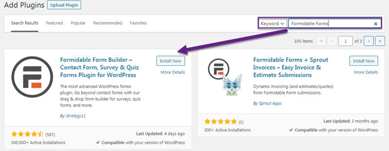 install formidable forms plugin