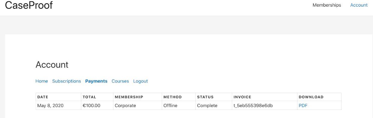 memberpress Pdf invoice dashboard