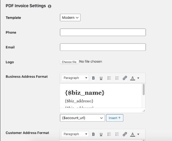 memberpress Pdf invoice setting