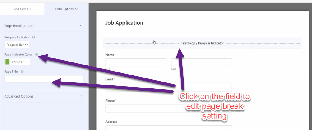 Click on the field to edit page break setting