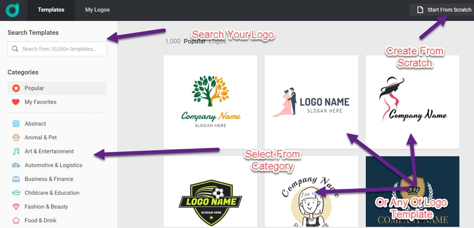 Select the how you want to create logo in designevo