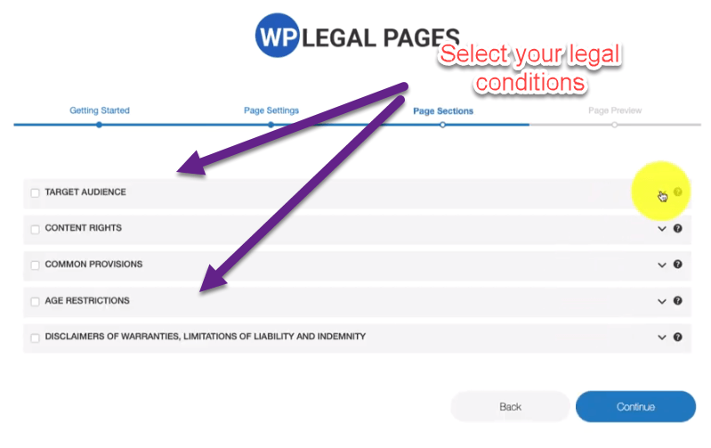 Create page sections for Privacy Policy Page In WordPress