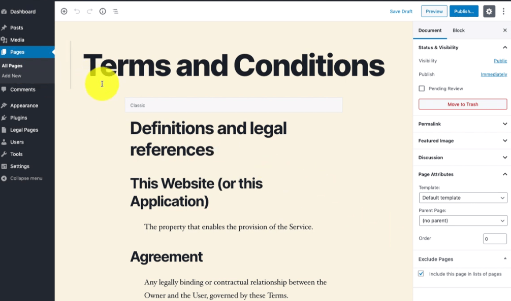 Create terms and conditions page in WordPress