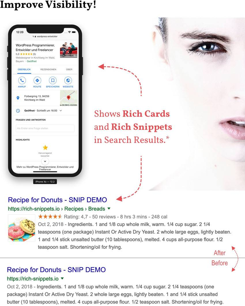 Improve website visibility in google search engine by using rich snippets