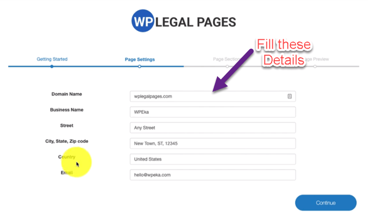 Page setting for creating Privacy policy Page In WordPress