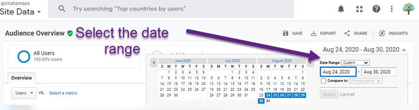 Select the date range in google analytics