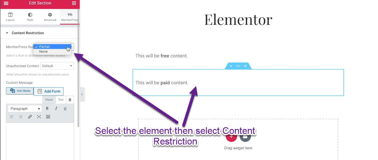 Select the element then select Content Restriction