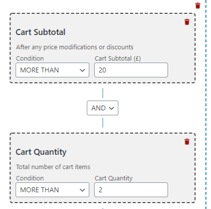 cart quantity and cart subtotal rule